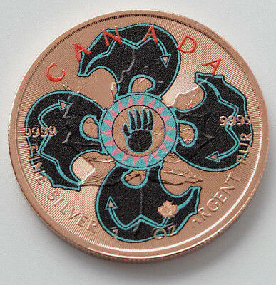 2017 1oz .999 Canadian Maple  Colorised Bear Shield Rose Gold Silver Coin