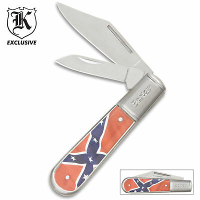 BUDK Two Blade Barlow SOUTHERN Flag Pocket Knife