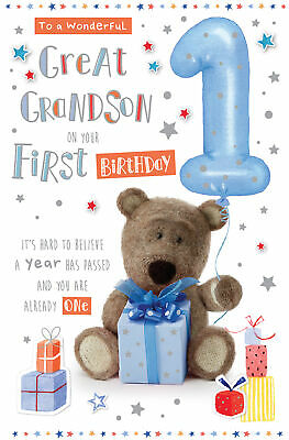 For A Special Great Grandson On Your 1st Birthday Card 289