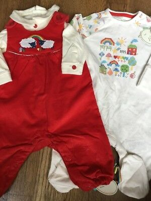 Mothercare Little Bird By Jools Oliver Cross Stitch Baby Grow & Dungaree Set 0-3