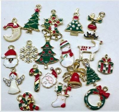 Lot of 15 Pieces Metal Alloy Mixed Christmas Charms - Brand New