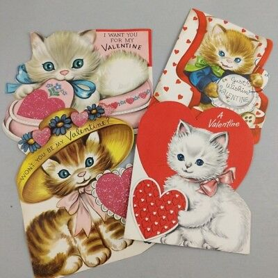 Vintage Cat Valentine Cards 50's 1950s Pink Hearts Kittens Lot of 4 Snowball