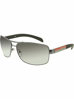 Prada Men's Polarized Linea Rossa PS54IS-7CQ5W1-65 Gunmetal Rectangle Sunglasses