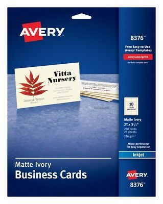 Business Cards- Avery Ivory Ink Jet Labels 250 cards-10 per card x 25 sheets