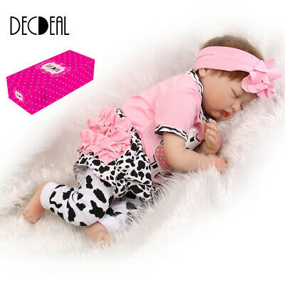 22in Reborn Toddler Newborn Lifelike Baby Dolls Full Body Silicone Doll+Clothes