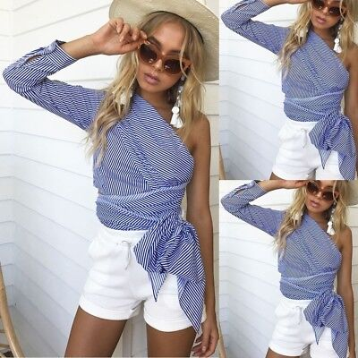 New Women Off Shoulder Top Long Sleeve Pullover Casual Blouse Summer Loose Shirt