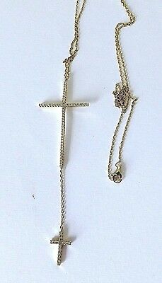 14K GoldPlated  925 STERLING SILVER DOUBLE CROSS  CZ NECKLACE  24 in.