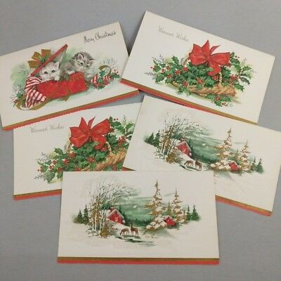 Vintage Christmas Cards 50s Cats Holly Lot of 5 Matching Unused Holiday Cards