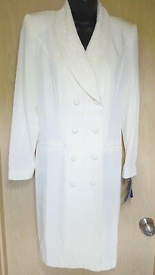 Danny & Nicole Vtg NOS Ivory Double Breasted Coat Dress 4P 4Petite Party Wedding