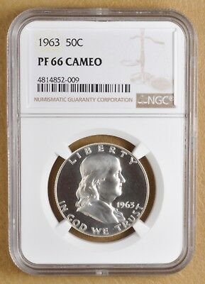 1963 Proof Franklin Silver Half Dollar NGC PF 66 Cameo
