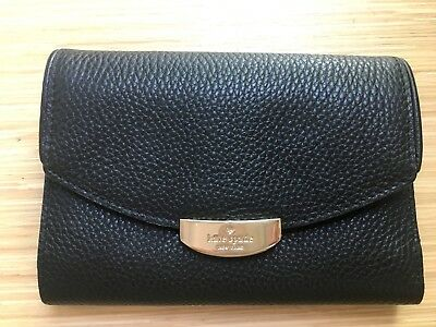 d08c36f9376fc NWT Kate Spade Callie Mulberry Street Black Leather Trifold Wallet Purse  Clutch