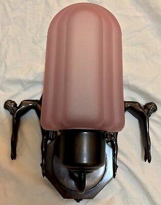 """VTG Art Deco Sconce """"Collection Francaise"""" """"Dancing Ladies"""" Frosted Glass Shade"""
