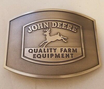 John Deere Vintage Logo Pewter Belt Buckle - Quality Farm Equipment