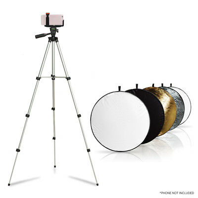 5-in-1 22inch Photo Studio Collapsible Light Reflector Stand Phone Holder Kit