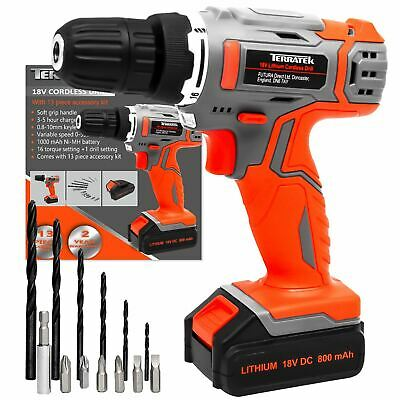 18V Cordless Drill Driver Li-Ion Electric Screwdriver Led Worklight 13Pcs Set