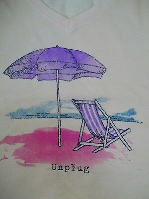 Life is Good Unplug Beach s/s V-Neck T-Shirt~Classic Fit~New~Size XXL