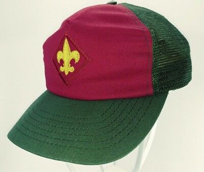 VTG Boy Scout Baseball Cap Hat Mesh Snapback Olive Red Gold BSA FLAWED