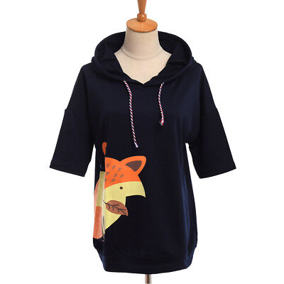 Girls' Cute Cartoon Fox Prints Pattern Loose Coat Short Sleeve Hoodie Cloak