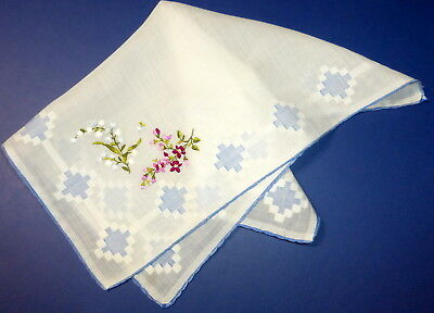 """Vintage 12.5"""" Fine White Swiss Cotton Handkerchief Red White Floral Embroidery"""