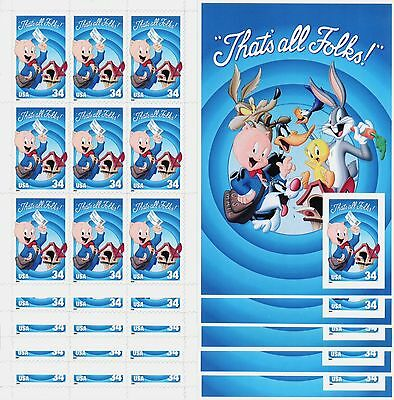{BJ stamps} 3535 Porky Pig That's All Folks 2001  IMPERF die cut lot of 5 sheets