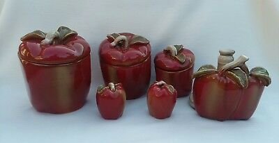 Vintage Glazed Ceramic 3pc RED APPLE Canisters, S/P Shakers U0026 Paper Towel  Holder