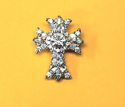 """Cross Brooch/Pin Cleaar & AB Rhinestones 1.5"""" by 1"""" Vtg. Unsigned VG Condition"""