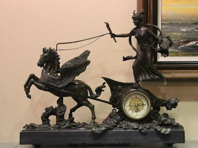 "20"" Western Art Pure Bronze Copper & Marble Pegasus Horse Mechanical Clock Watch"