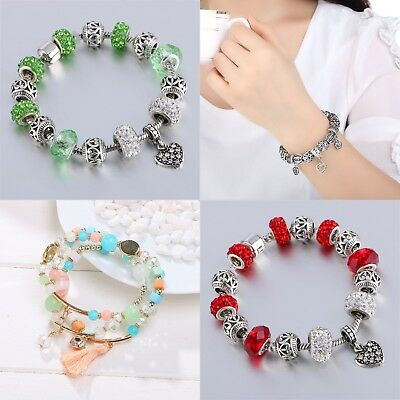 Wostu European 925 silver Charms Bracelet With Colorful Flower Beads For Women H