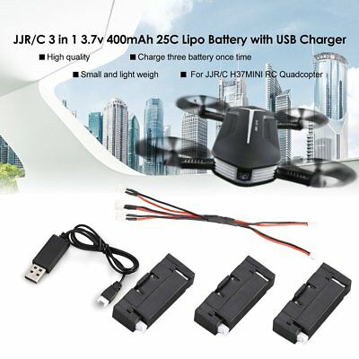 Original JJR/C 3Pcs 3.7v 400mAh Lipo Battery USB Charger for H37 Mini RC Drone L