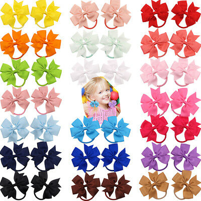 20 Pairs 3.5'' Pinwheel Hair Bows Ponytail Holders Hair Ties For Girls Children