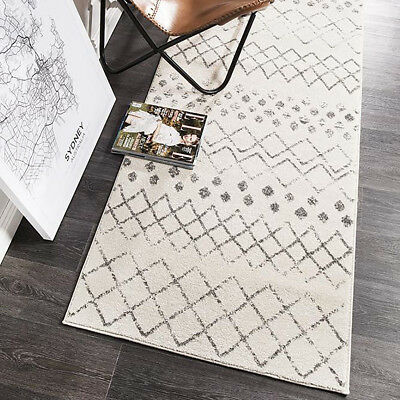 HARBOR IVORY GREY BOHO TRIBAL MOROCCAN MODERN FLOOR RUG RUNNER 80x500cm **NEW**