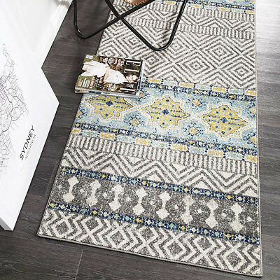 HARBOR GREY BLUE BOHO TRIBAL MOROCCAN MODERN FLOOR RUG RUNNER 80x400cm **NEW**