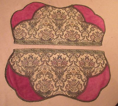 antique 2 embroidered floral velour metal gold trim centerpiece center table mat
