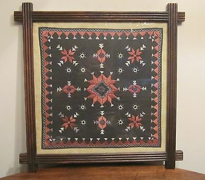 antique detailed hand sewn needlepoint embroidered tapestry carved wood framed .