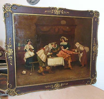 large antique 19th century 1800's original figural tavern scene oil painting
