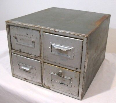 Vintage 4 DRAWER METAL Antique Index Card File Cabinet Storage Box 14 X 12 X