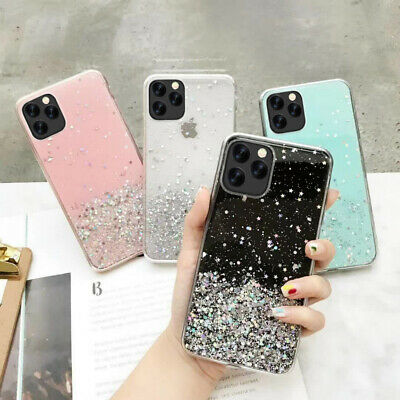 Glitter Bling Stars Clear Soft Rubber Case Cover For Apple iPhone X 8 6s 7 Plus