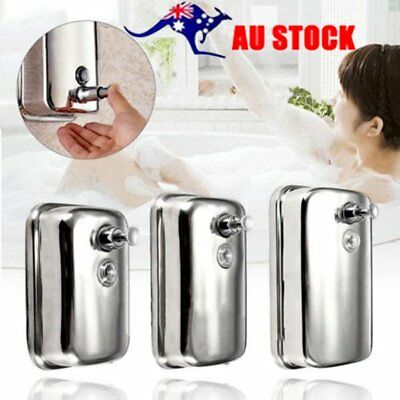 Bathroom Stainless Steel Soap/Shampoo Dispenser Lotion Pump Action Wall MounteGS