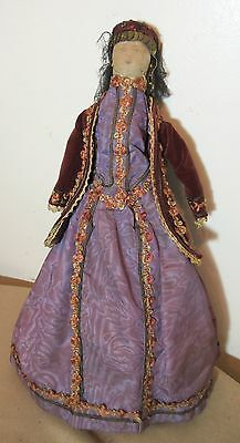 large antique handmade Ukraine lady folk art carved wood embroidered cloth doll