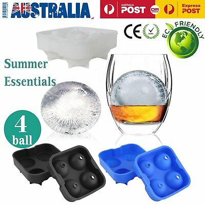 Round Ice Balls Maker Tray FOUR Large Sphere Molds Cube Whiskey Cocktails AU