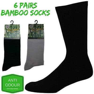 6 Pairs BAMBOO SOCKS Crew Natural Eco Healthy Enviro Unisex Work Business BULK