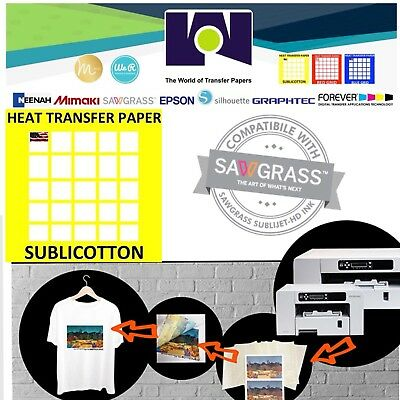 "SUBLICOTTON HEAT TRANSFER PAPER  5 Sh 8.5""X11 Sublimation paper for Cotton"