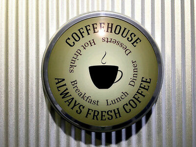"""Coffee House Light Up Sign 12"""" old chrome LED Domed Lens Coffee Tea Equipment"""