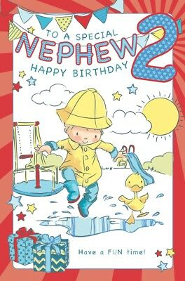 NEPHEW 2nd BIRTHDAY CARD AGE 2 LARGE QUALITY ACTIVITY CARD WITH LOVELY VERSE