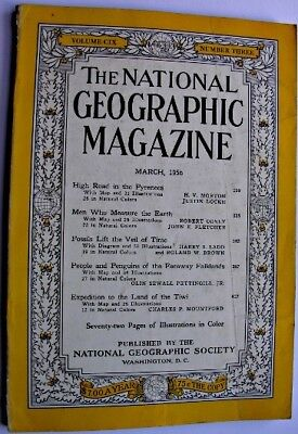 NATIONAL GEOGRAPHIC Mar 1956 Tiwi Aboriginals Falkland Islands Fossils Pyrenees