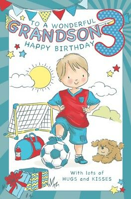 GRANDSON 3rd BIRTHDAY CARD AGE 3 LARGE QUALITY ACTIVITY LOVELY VERSE