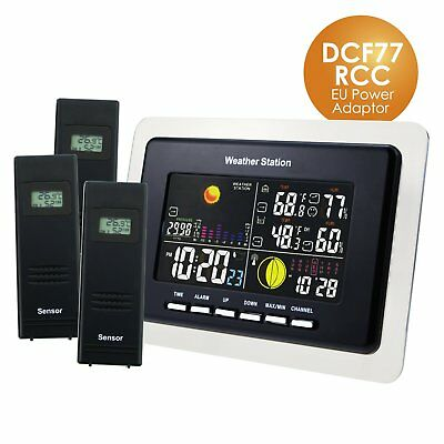 Indoor Outdoor Weather Station 3 Wireless Sensors Temperature Monitor DCF77 RCC