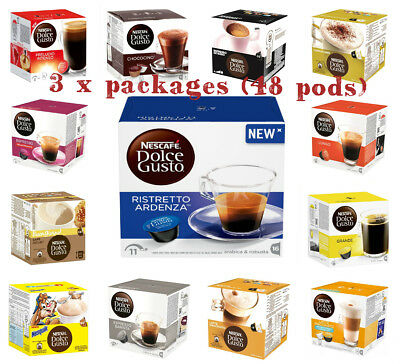 Nescafe Dolce Gusto Coffee pods Capsules 48 Count (3 x Packs)