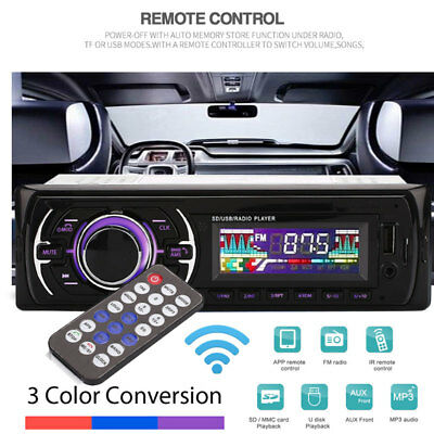 1 DIN In-dash Bluetooth Car Stereo Audio Mp3 Player FM Radio AUX Input Receiver