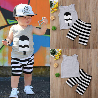 Toddler Kids Baby Boys T-shirt Tops Tank Shorts Summer Outfits Clothes 2PCS Set